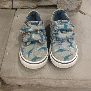 Vans velcro shark shoes size 6 toddler